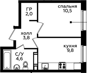 1-комнатная, 30.7 м²– 2
