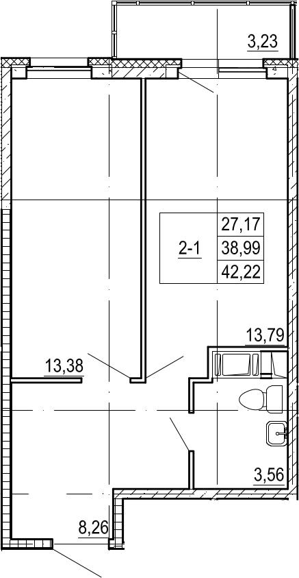 2Е-к.кв, 39.04 м²