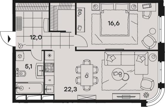 2Е-комнатная, 56 м²– 2