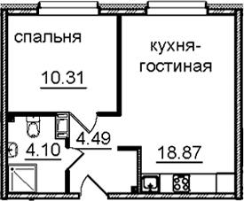 2Е-к.кв, 37.77 м², 14 этаж