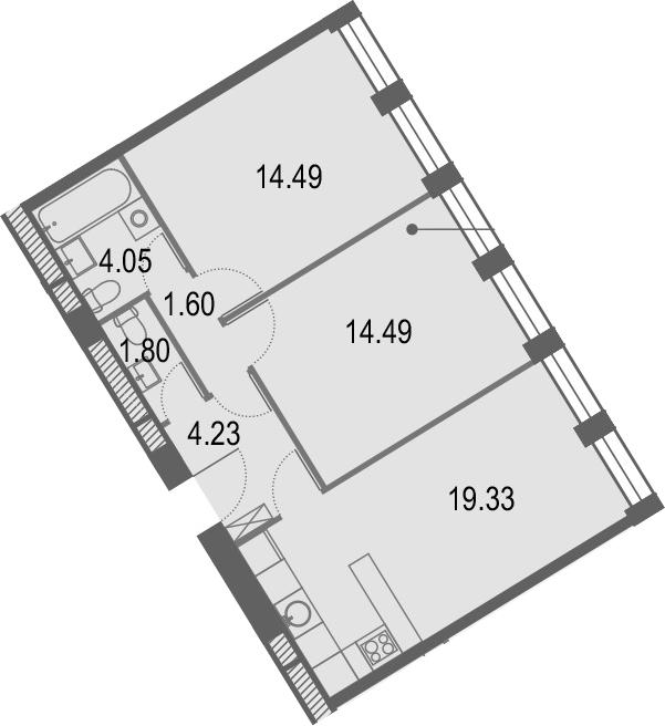 3Е-к.кв, 59.99 м², от 25 этажа