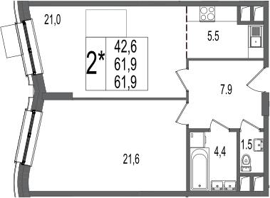 2Е-комнатная, 61.9 м²– 2