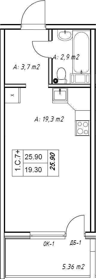Студия, 27.51 м²– 2