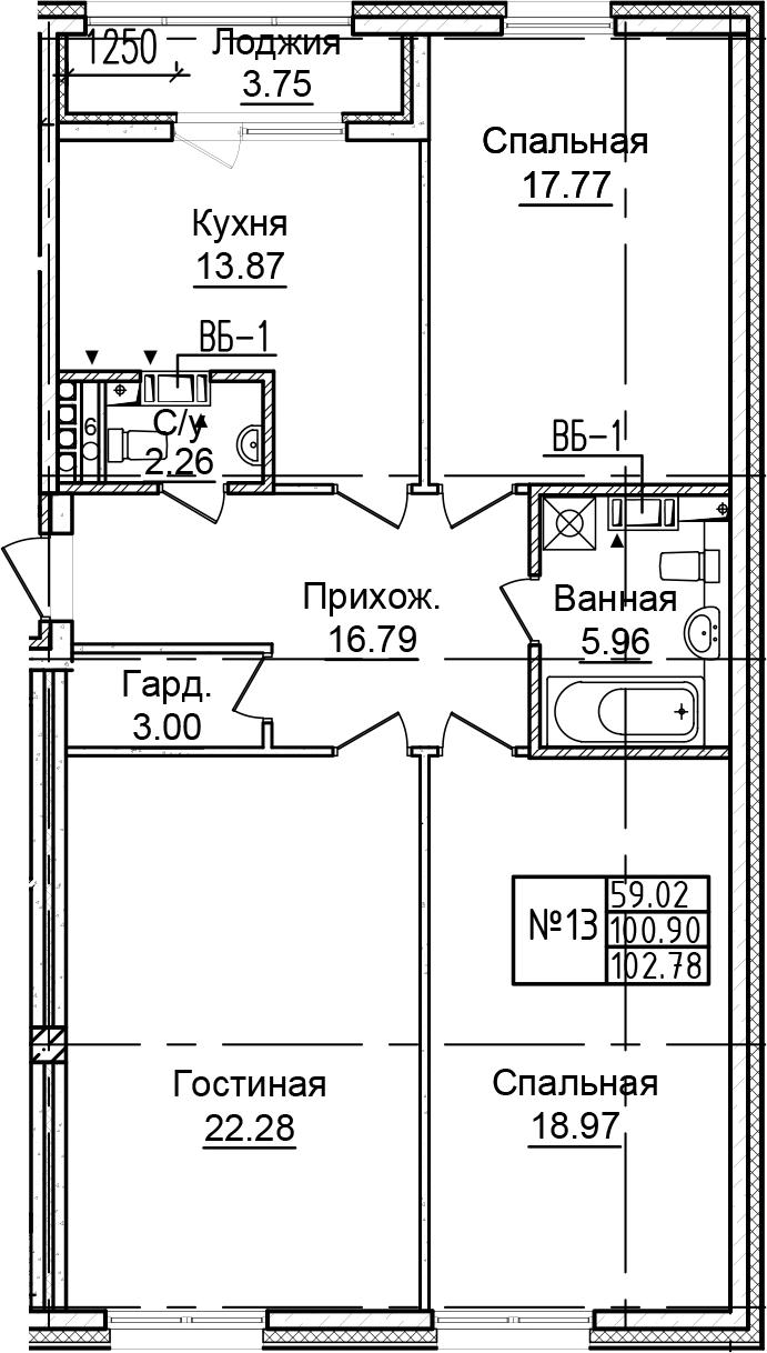 3-к.кв, 102.78 м²