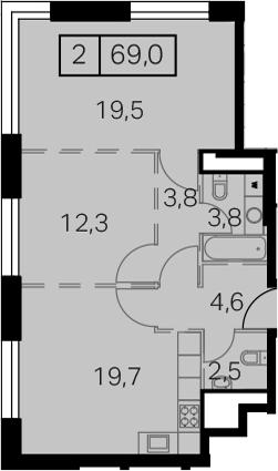 3-к.кв (евро), 69 м²