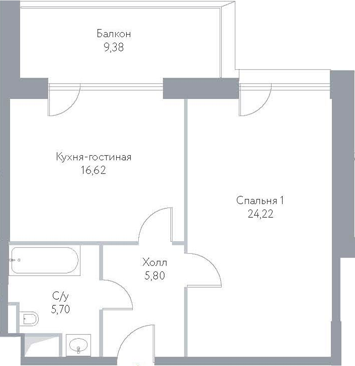 2Е-к.кв, 61.72 м², 9 этаж
