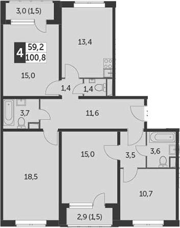 4-к.кв, 100.8 м²