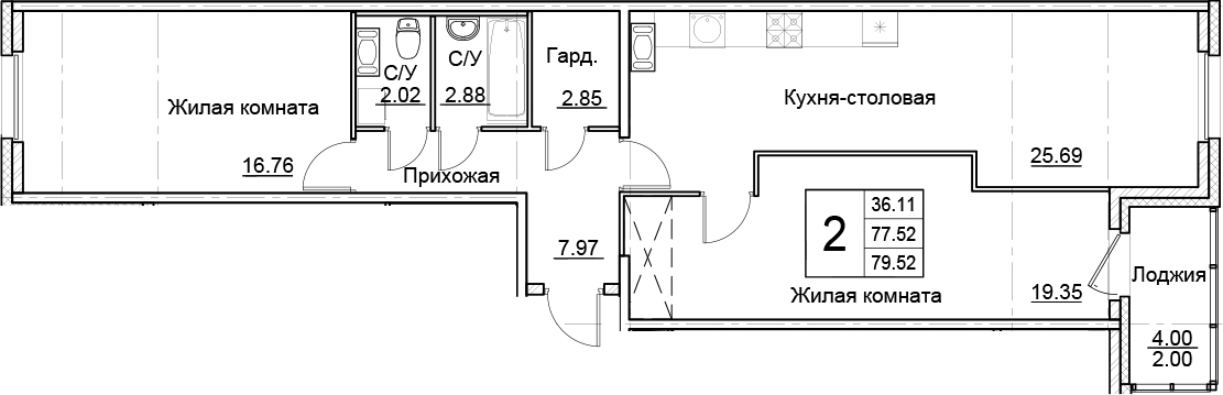 3Е-к.кв, 79.52 м²