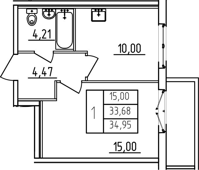 1-к.кв, 37.91 м²