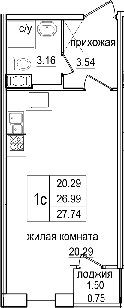 Студия, 27.74 м²– 2