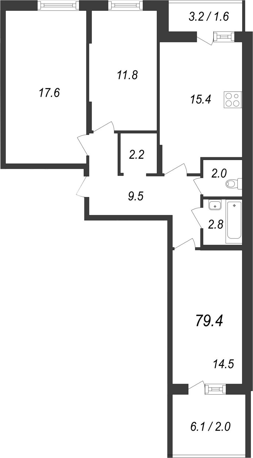 4-к.кв (евро), 85.67 м²