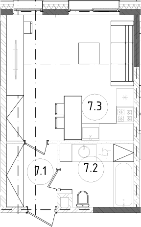 Студия, 28.33 м²– 2