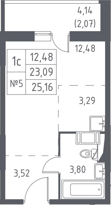 Студия, 27.23 м²