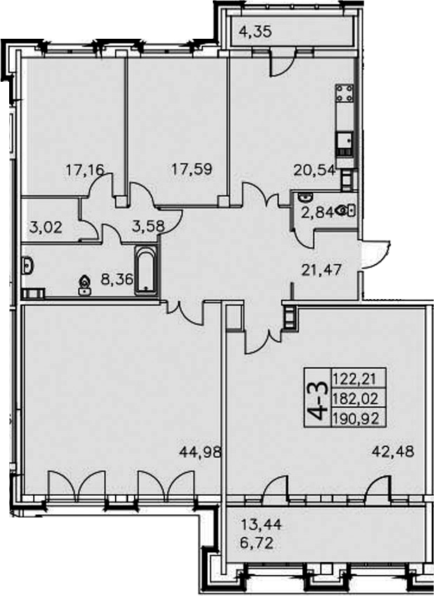 4-к.кв, 199.82 м²