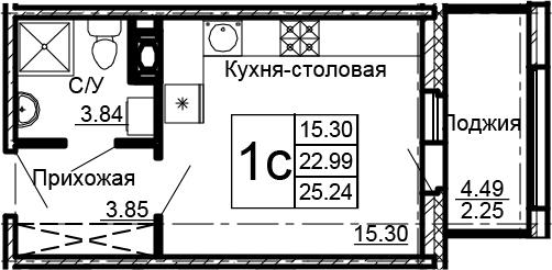 Студия, 25.24 м²