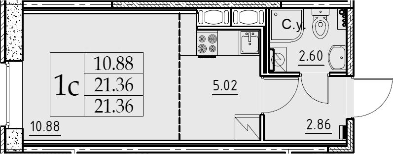 Студия, 21.36 м², 2 этаж