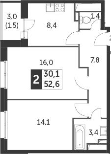 2-к.кв, 52.6 м²