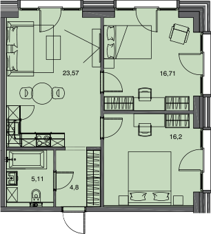 3Е-комнатная, 66.39 м²– 2