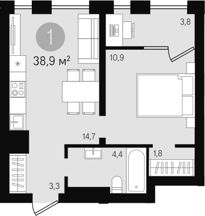 2Е-к.кв, 38.9 м²