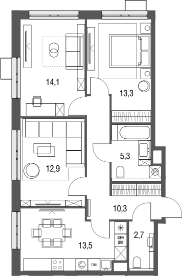 3-комнатная, 72.1 м²– 2