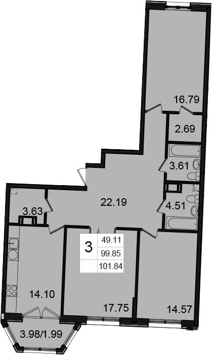 3-к.кв, 101.84 м²