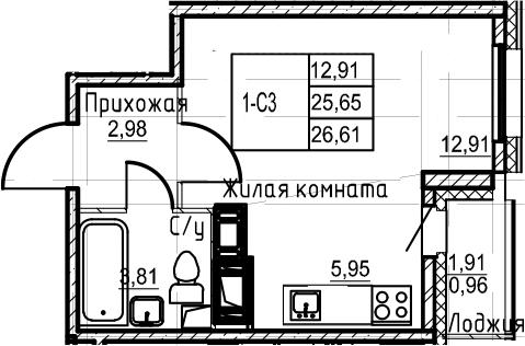 Студия, 26.61 м²– 2