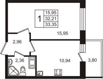 1-комнатная, 32.21 м²– 2
