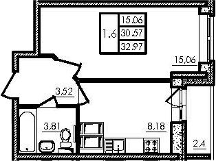 1-к.кв, 30.57 м², 14 этаж