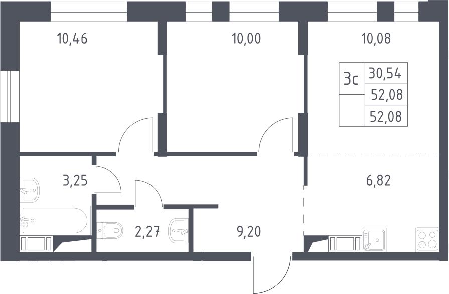3Е-к.кв, 52.08 м², 14 этаж