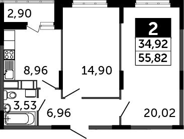 2-к.кв, 57.26 м²
