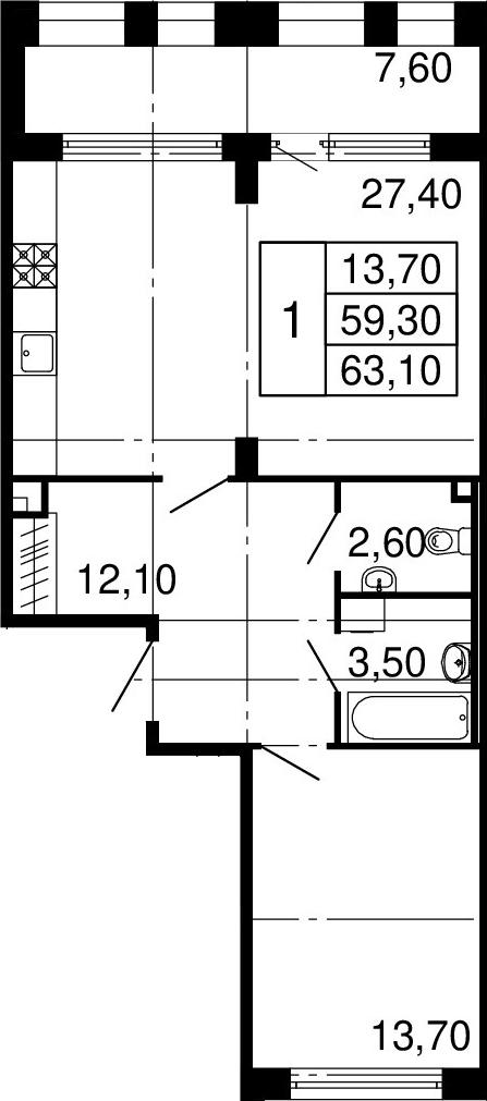 2-к.кв (евро), 66.9 м²