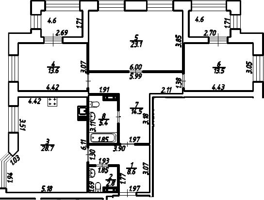 3-к.кв, 114.85 м²