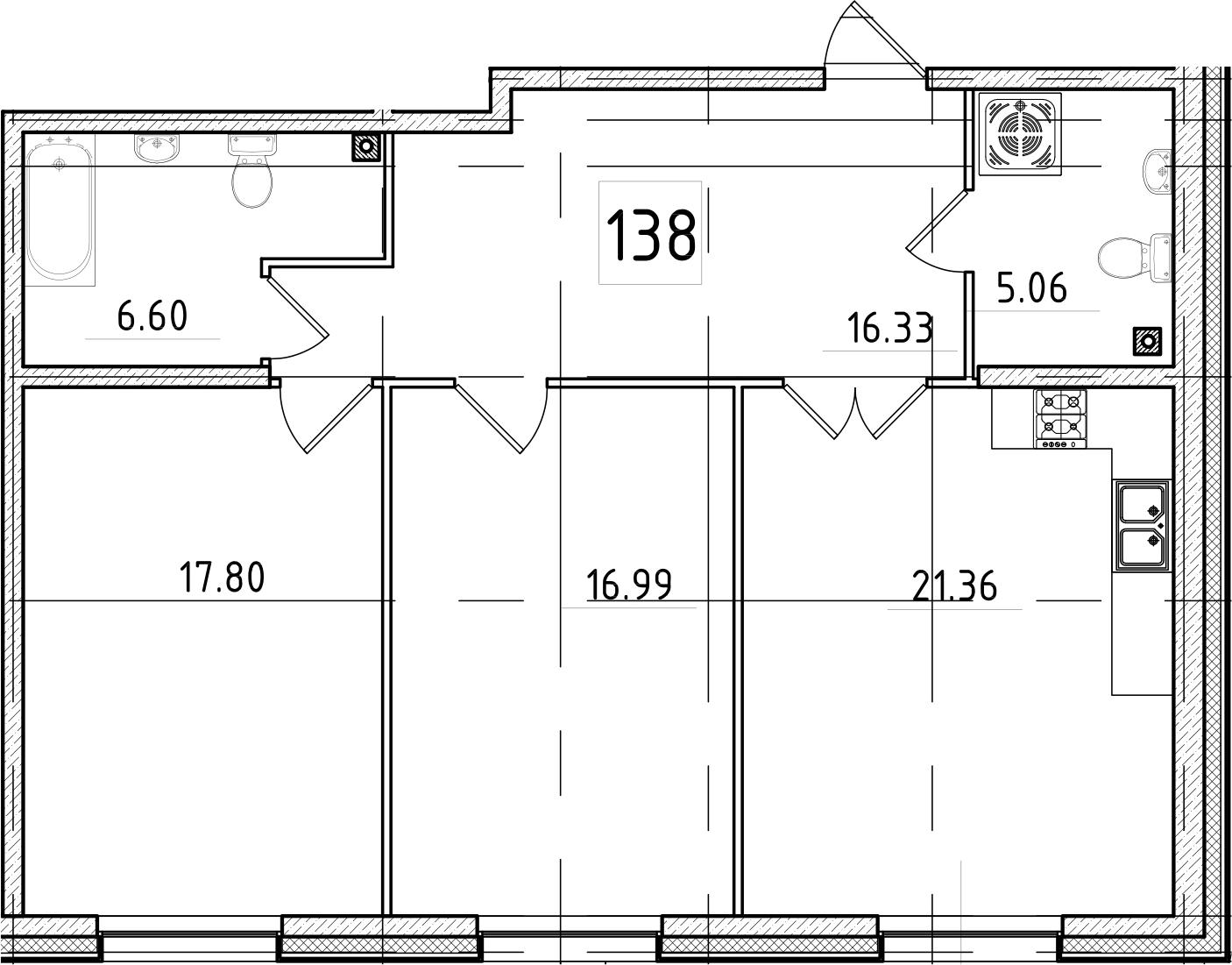3-к.кв (евро), 84.14 м²