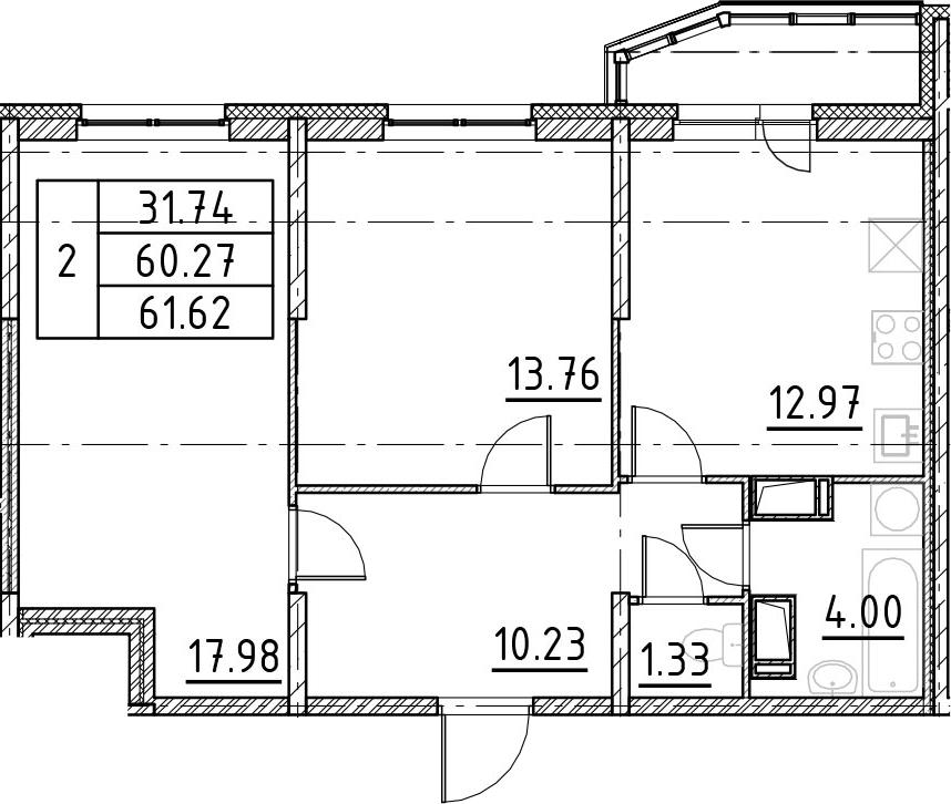2-к.кв, 62.97 м²