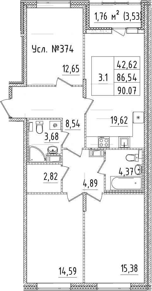 4Е-к.кв, 86.54 м², 14 этаж