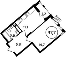 1-к.кв, 38.9 м²