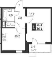 1-комнатная, 36.1 м²– 2