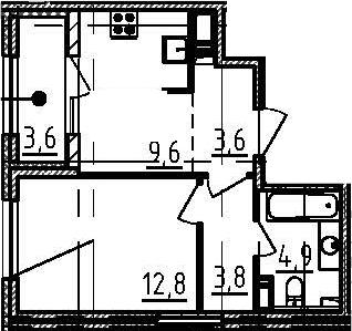 1-к.кв, 36.5 м², от 3 этажа