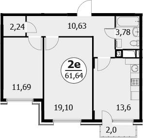3-к.кв (евро), 63.04 м²