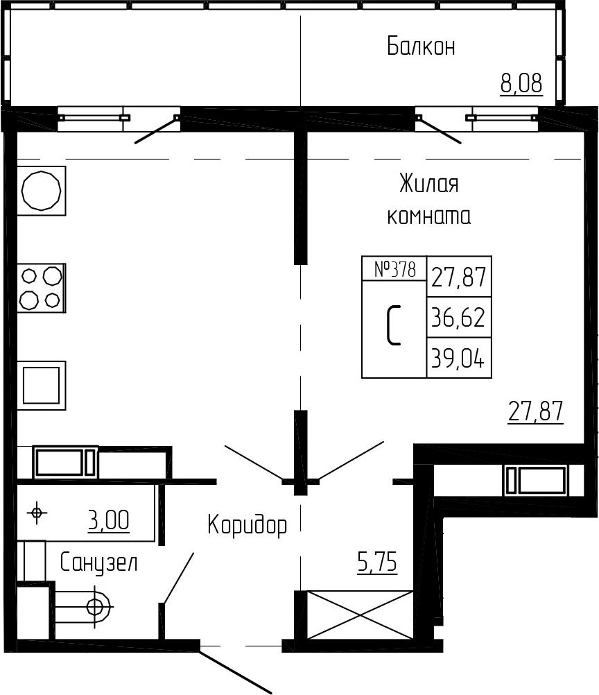Студия, 39.04 м²– 2