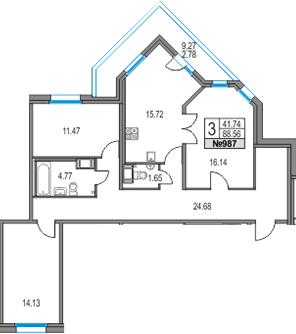 4Е-комнатная, 88.56 м²– 2