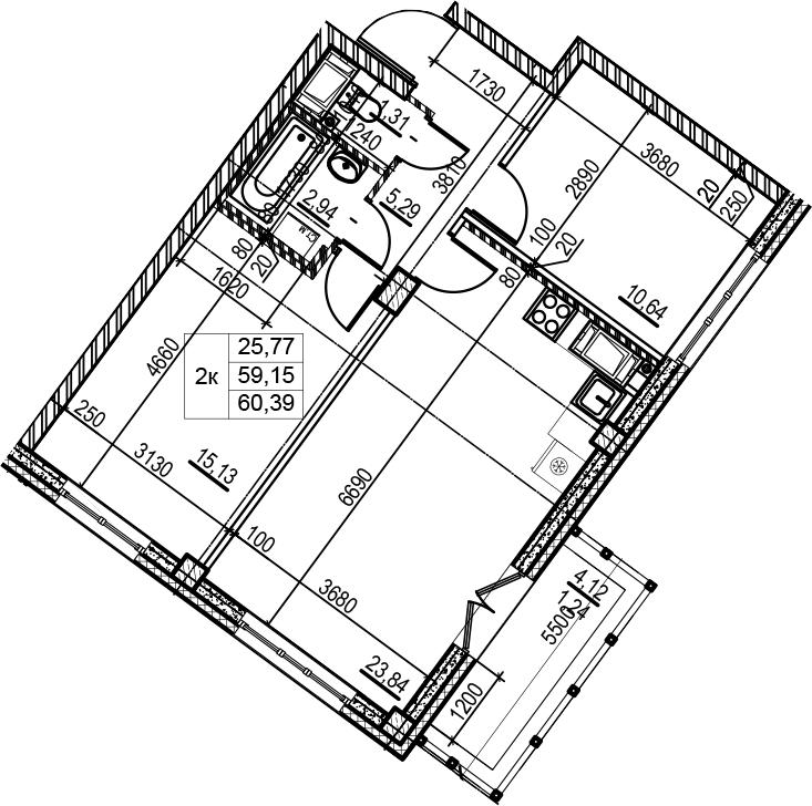 2-комнатная, 60.39 м²– 2