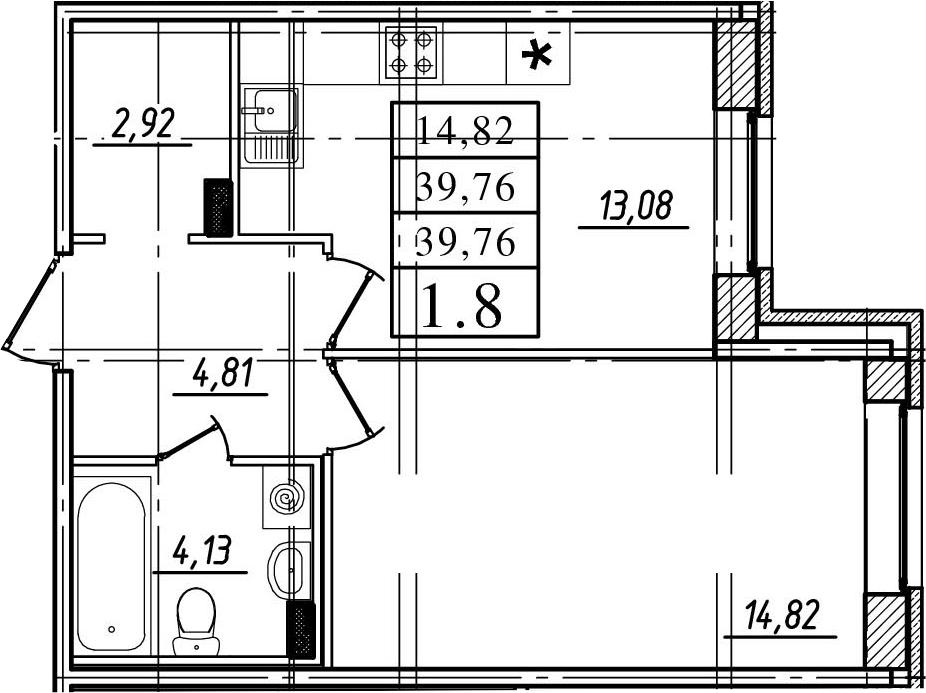 1-к.кв, 39.76 м²