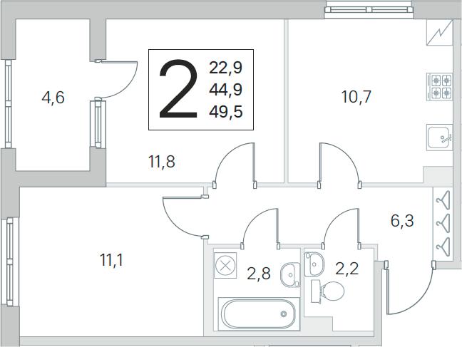 2-к.кв, 44.9 м²