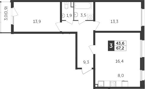3-к.кв (евро), 69.3 м²