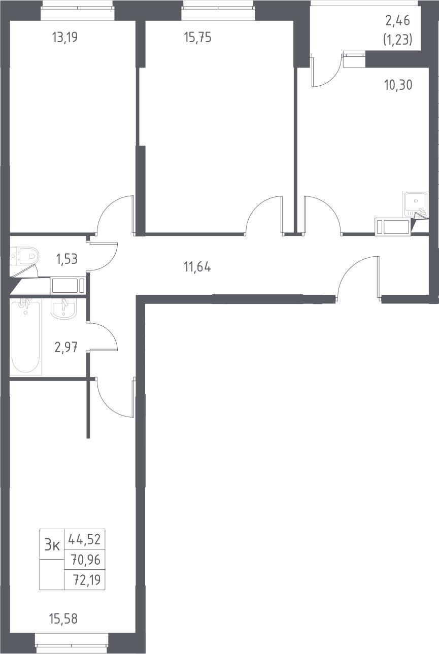 3-комнатная, 72.19 м²– 2