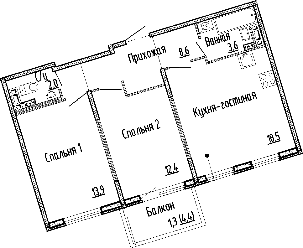 3Е-комнатная, 59 м²– 2