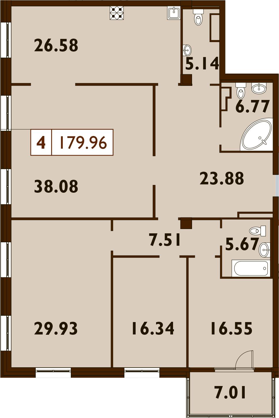 5Е-к.кв, 179.96 м²