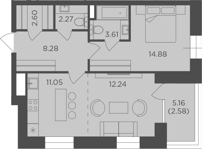 2Е-комнатная, 57.51 м²– 2