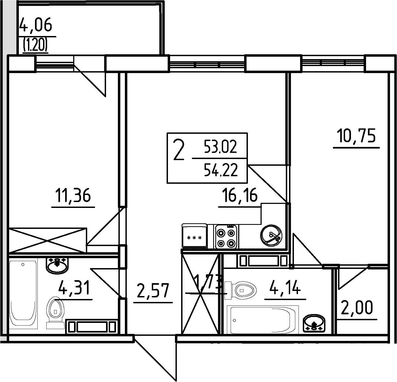 2-к.кв, 57.02 м²